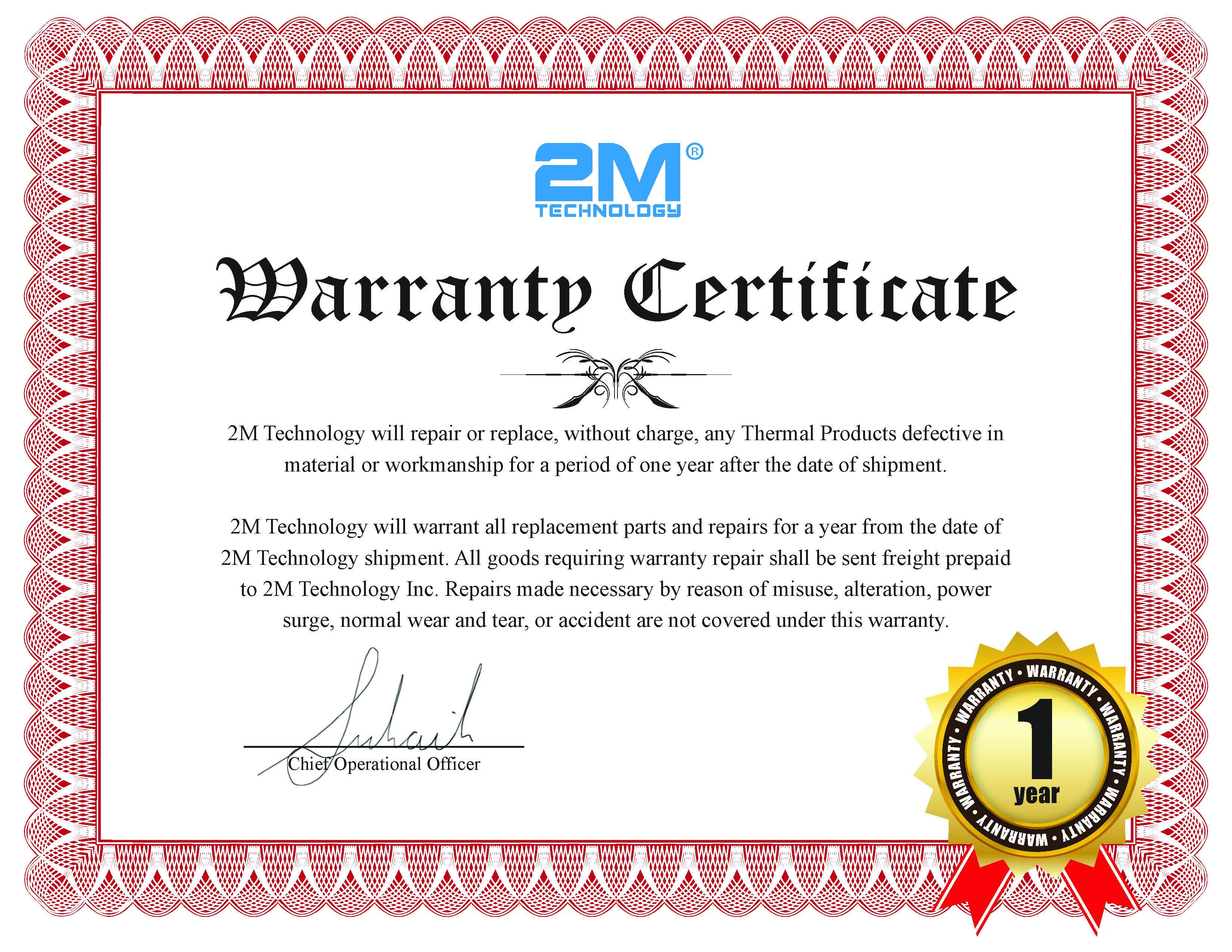 2M Thermal_1yr warranty_Certificate